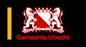 Logo van de Gemeente Utrecht. Het logo bevat het stadsschild met twee leeuwen aan weerszijden, de naam Gemeente Utrecht en een geel accent.